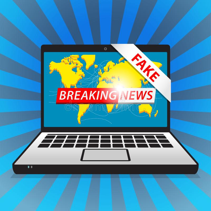 超大事件-伪造品 与地图backgorund的国际新闻 皇族释放例证