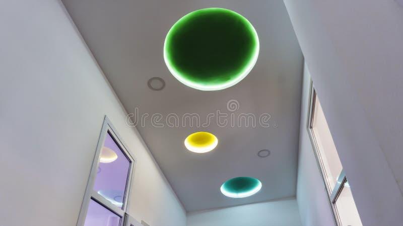 超现代,室内设计,装饰,设计,多彩多姿,灯 免版税库存照片