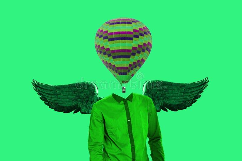 超现实主义的最小的概念 而不是一个人头和翼的一个气球在后面后 简单派和超现实主义 向量例证