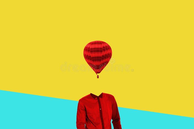超现实主义的最小的概念 而不是一个人头的一个气球 简单派和超现实主义 免版税库存图片