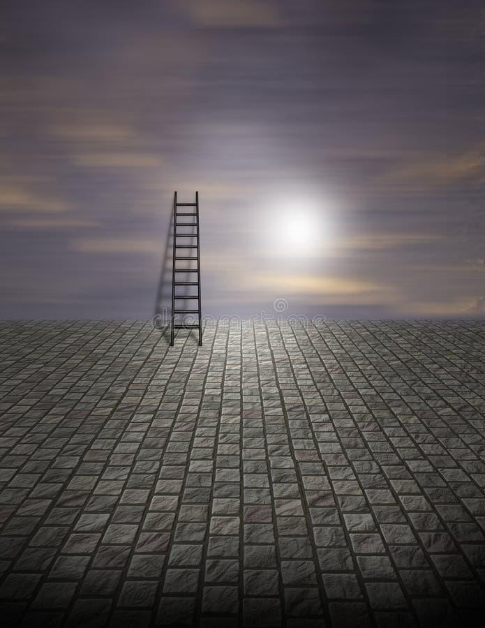 超现实梯子的场面 向量例证