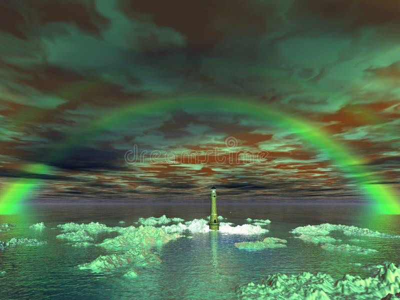 超现实灯塔的彩虹 向量例证
