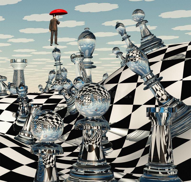 超现实的下棋比赛 库存例证
