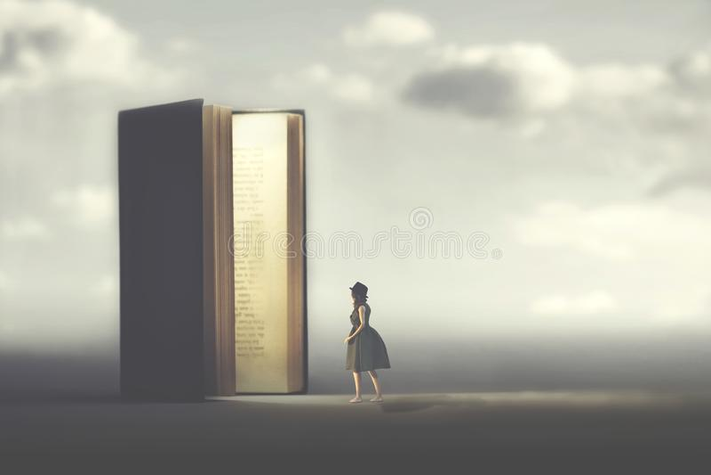 超现实的书打开门被照亮对妇女,方式的概念对自由的 免版税库存照片