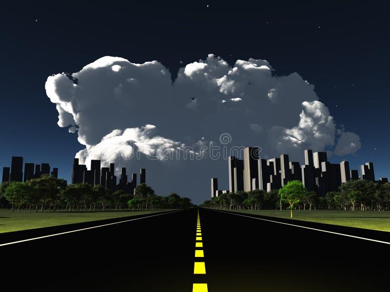 超现实的城市晚上车行道 库存例证