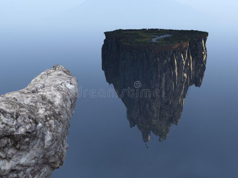 超现实的幻想浮动海岛背景,峭壁 免版税库存照片