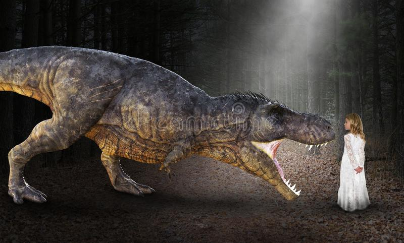 超现实的恐龙,女孩,暴龙雷克斯, T雷克斯 免版税库存图片