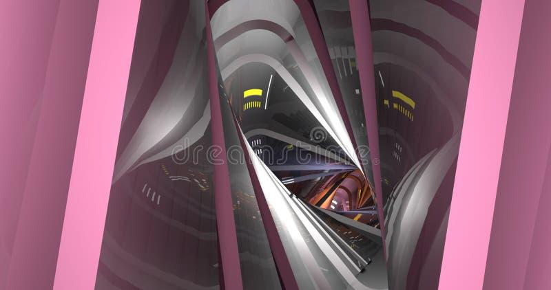 超现实的未来派隧道 库存例证