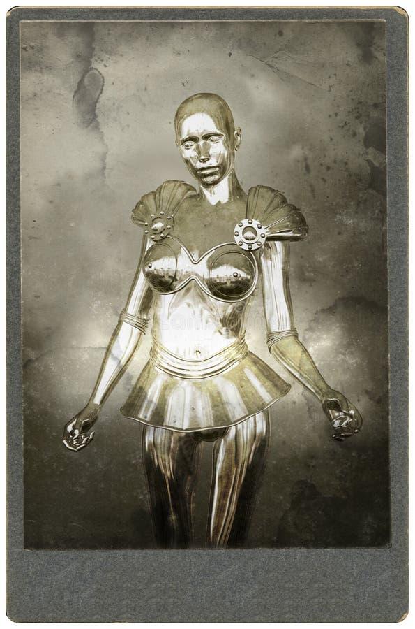 超现实的机器人妇女葡萄酒画象,摄影 库存例证