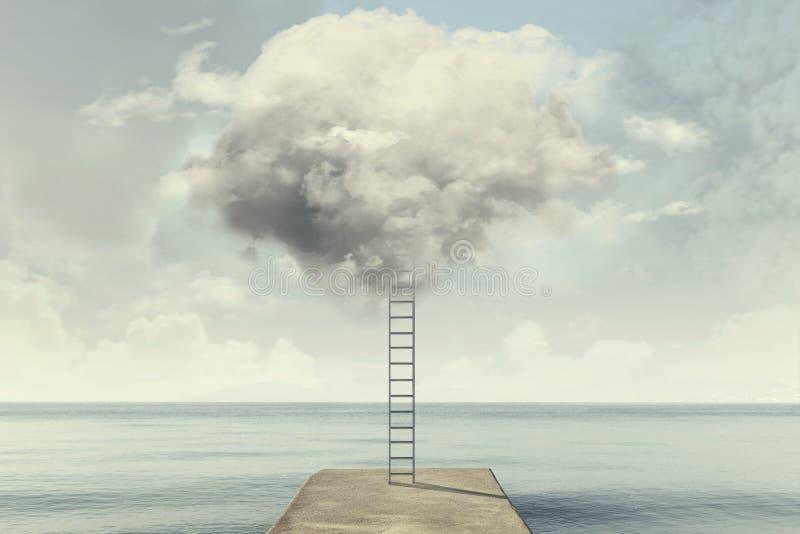 超现实的梯子上升入在一个沈默海视图的天空 免版税库存照片