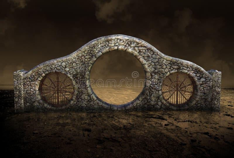 超现实的石门,拱道,沙漠 免版税库存图片