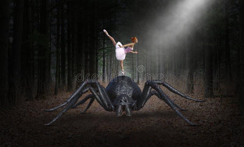 超现实的芭蕾舞女演员舞蹈家,妖怪蜘蛛 向量例证