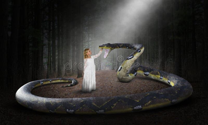 超现实的蛇,自然,森林,女孩 图库摄影