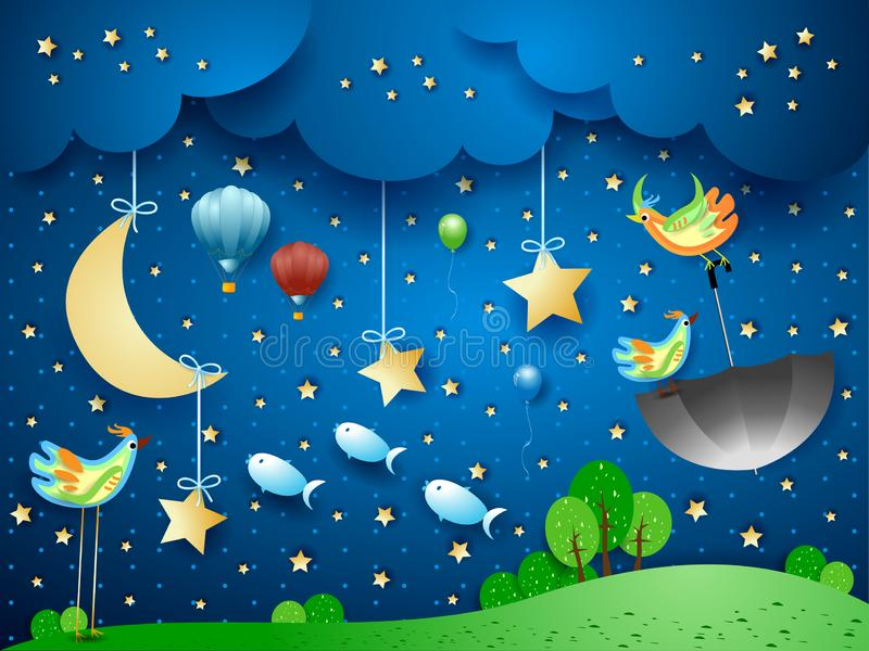 超现实的风景在与月亮、飞行伞和鱼的夜之前 图库摄影