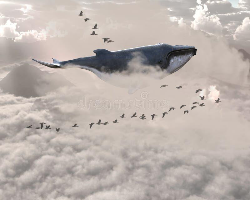 超现实的飞行鲸鱼,鸟,天空 库存照片
