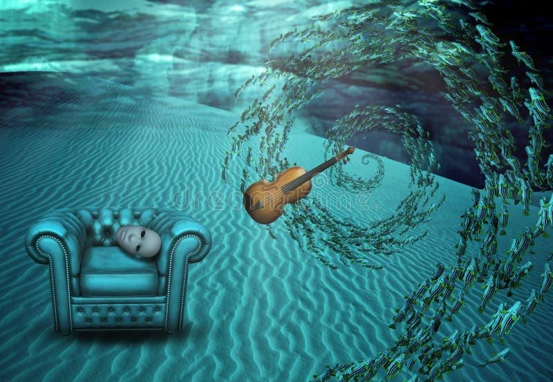 超现实的水下的场面 库存例证