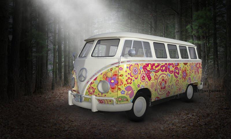 超现实的VW嬉皮公共汽车范,减速火箭的葡萄酒 图库摄影