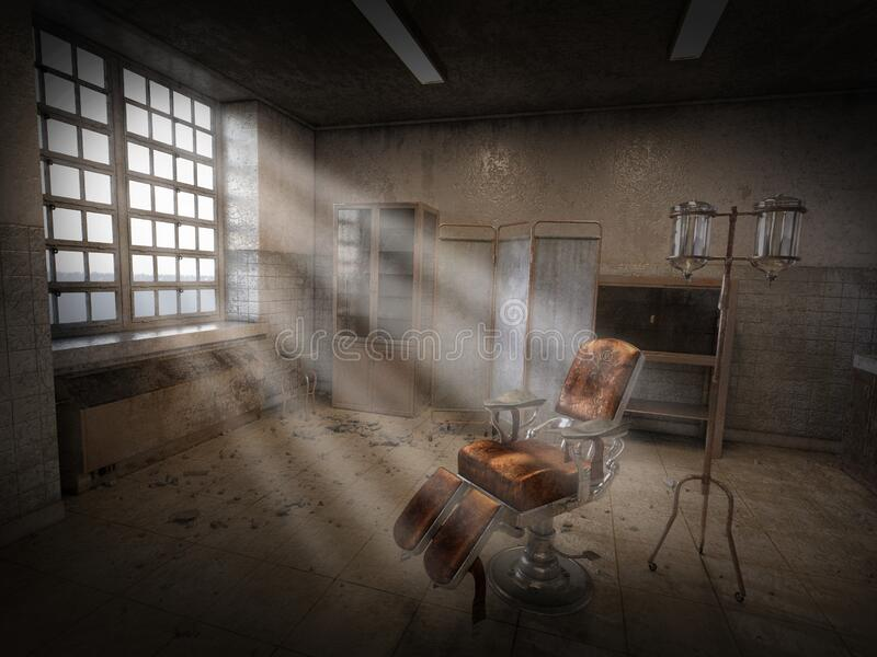 超现实精神病房、背景、精神病院 库存图片