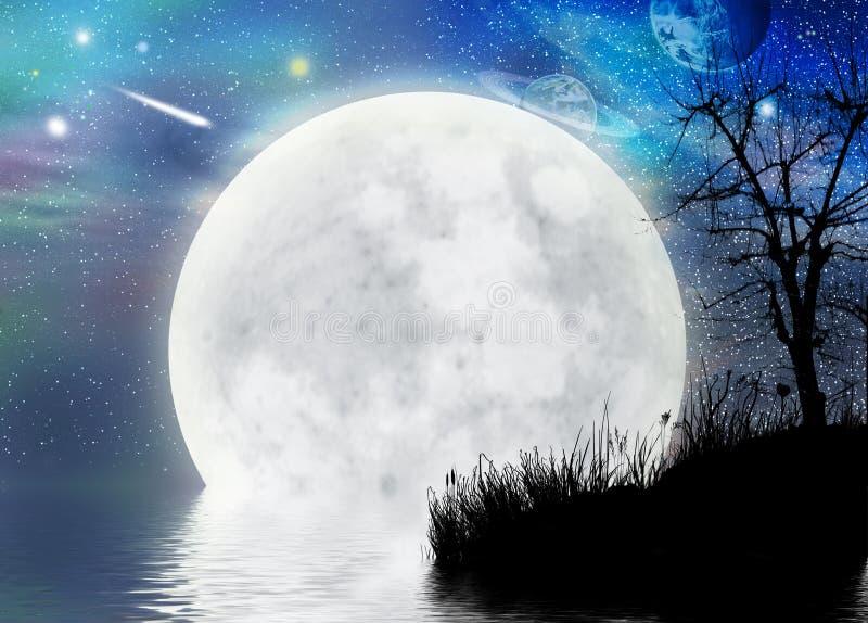 超现实背景神仙的月亮的scape 向量例证