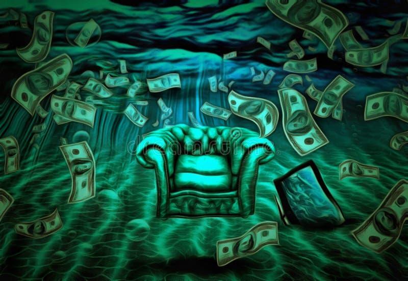 超现实水下的场面 向量例证