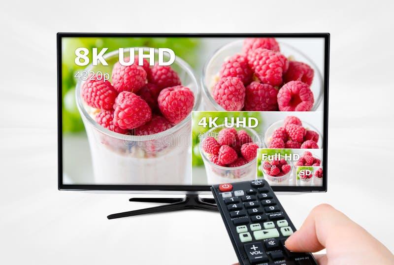 超电视HD 8K 4320p电视 免版税库存图片