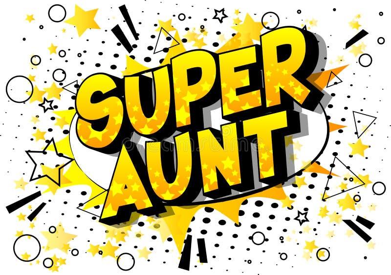 超级伯母-漫画样式词 向量例证