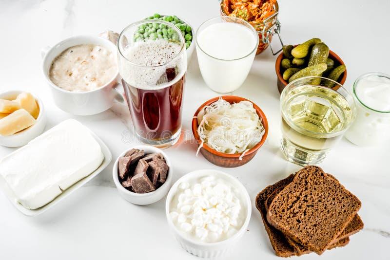超级健康前生命期的被发酵的食物来源 免版税库存照片