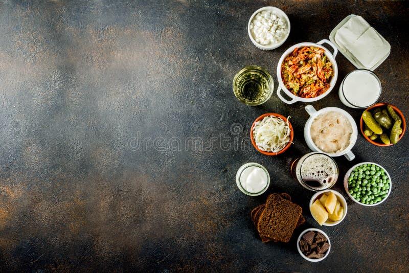 超级健康前生命期的被发酵的食物来源 免版税图库摄影
