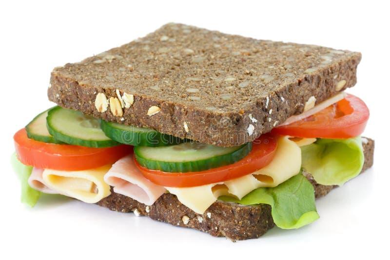 超级健康沙拉、乳酪和火腿三明治 库存照片
