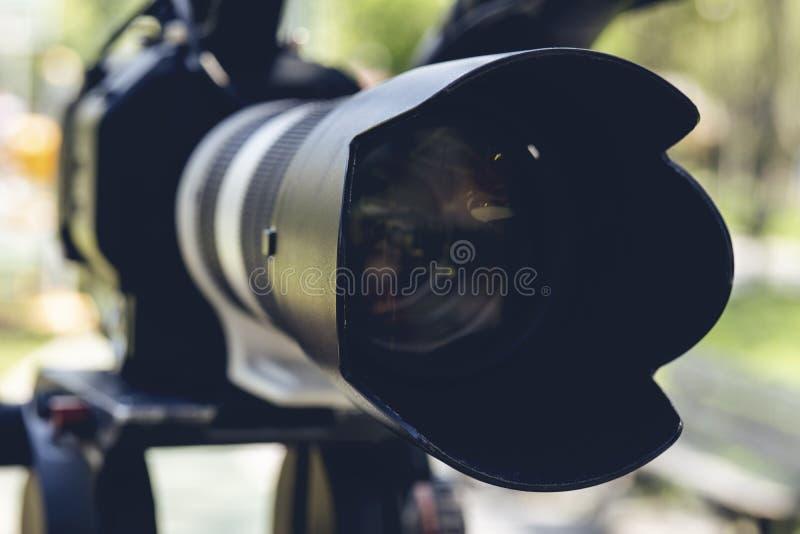 超级关闭专业摄像头 免版税图库摄影