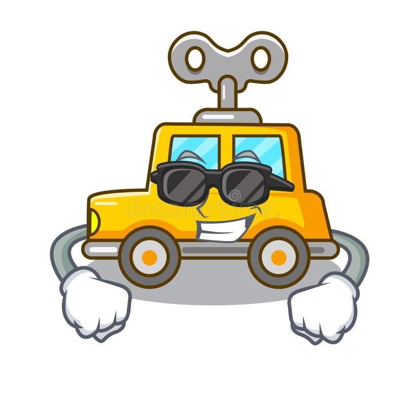 超级凉快的动画片钟表机械玩具汽车在桌里 皇族释放例证