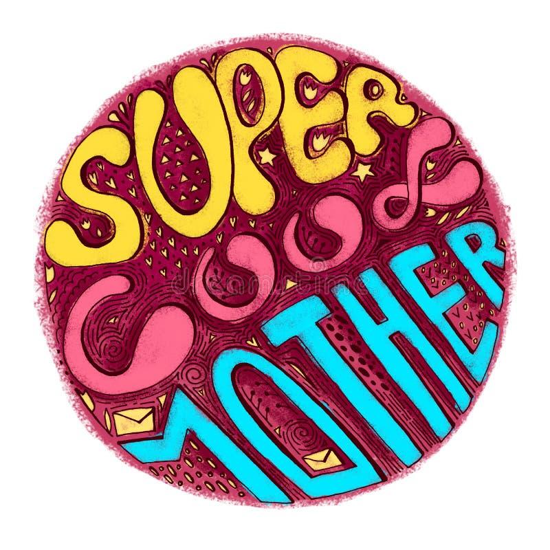 超级凉快的母亲-在圈子的五颜六色的乱画字法词组 贺卡的,母亲节海报,横幅文本 向量例证