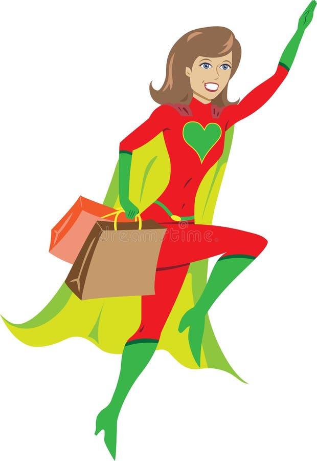超级去飞行女孩英雄的疯狂购物 库存例证