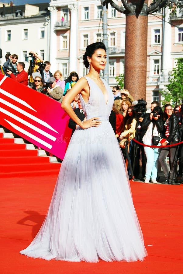超级名模Ravshana库尔科娃在XXXVI莫斯科国际影片竞赛 免版税库存照片