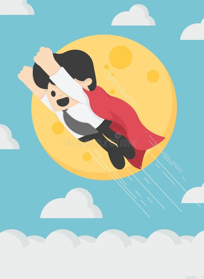 超级商人在天空背景中飞行月亮 皇族释放例证