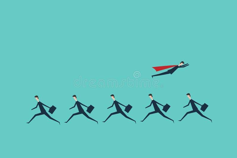 超级商人改变的方向和白色一个 新的想法,变动,趋向,勇气,创造性的解答, innovat 向量例证