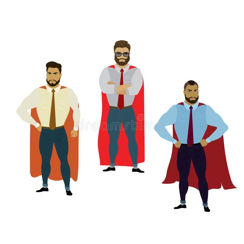 超级商人集合,在白色背景隔绝的英雄 库存例证