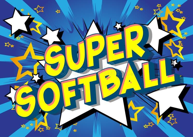 超级垒球-漫画样式词 库存例证