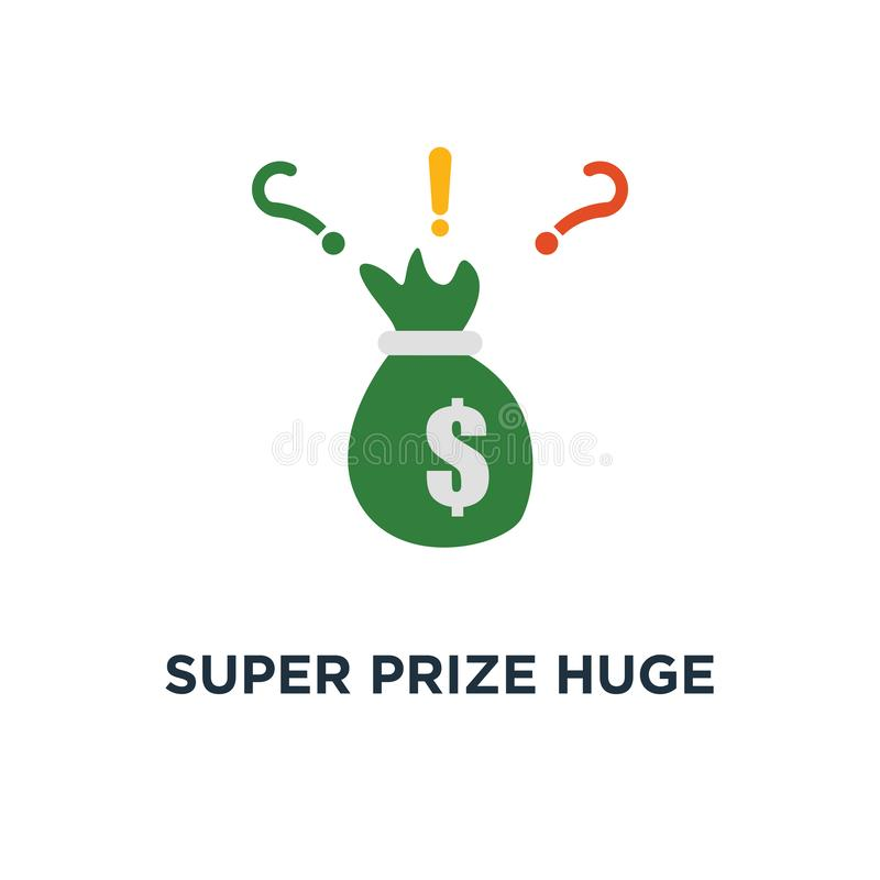 超级奖巨大的袋子现金象 有美元的,津贴提议,大资金概念标志设计,赢得的盛大抽奖金钱大袋, 向量例证
