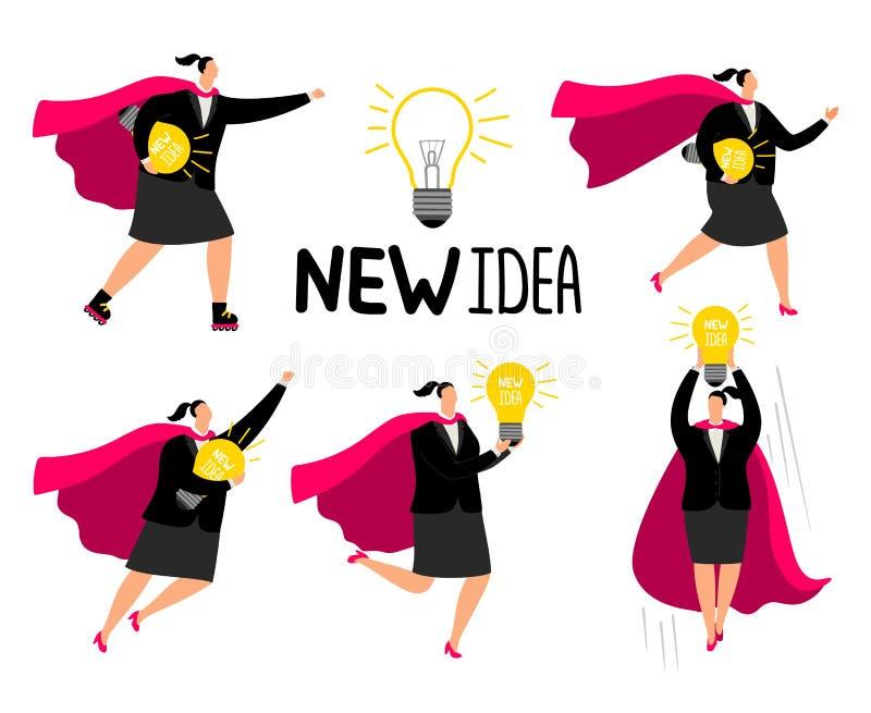 超级女实业家新的想法象 库存例证