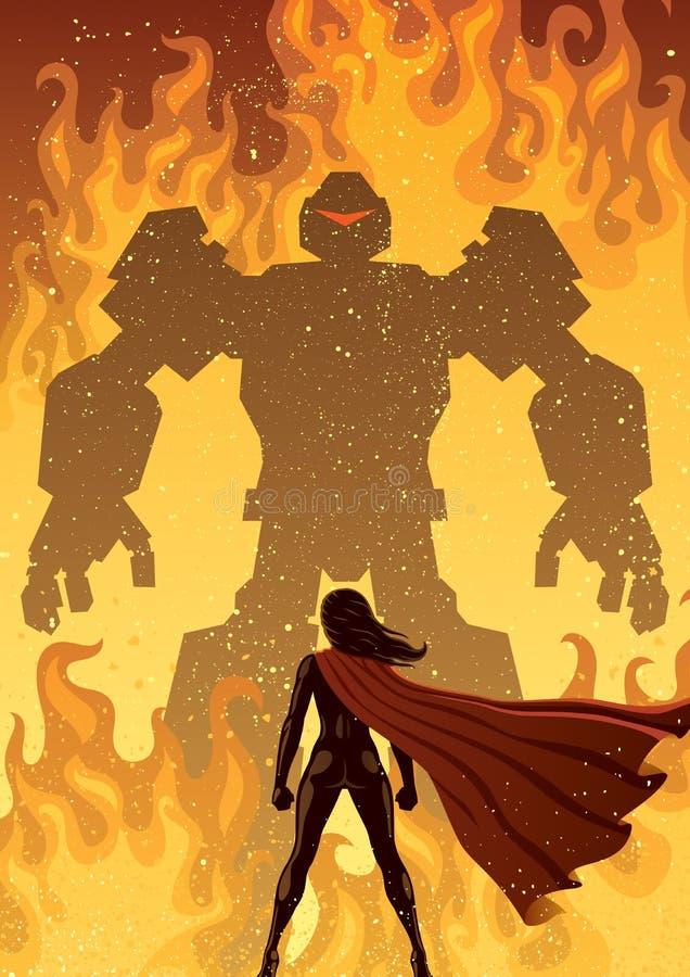 超级女英雄对机器人 向量例证