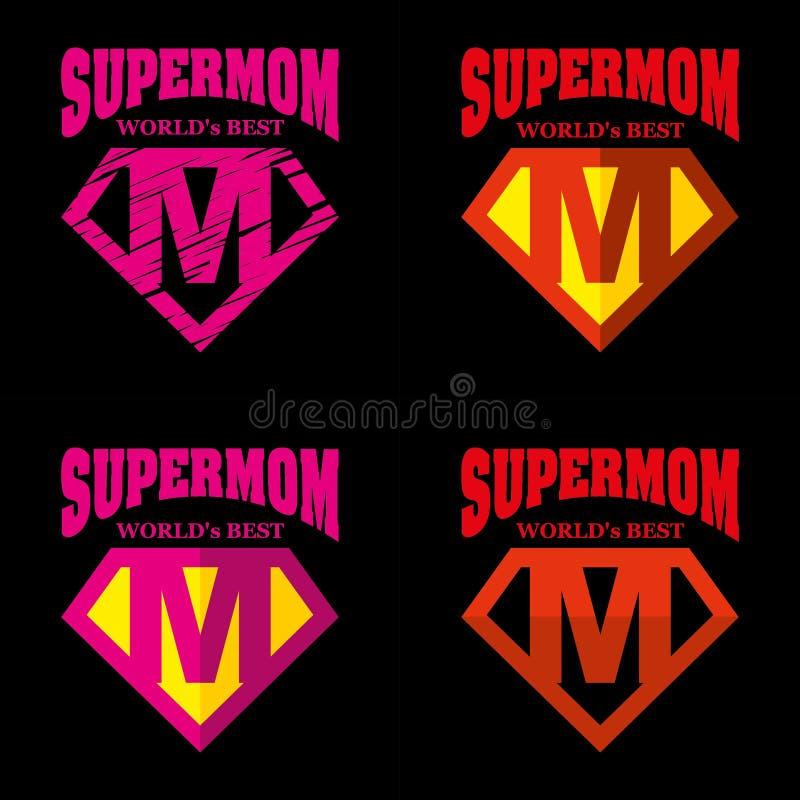 超级妈妈英雄商标Supehero信件 库存例证