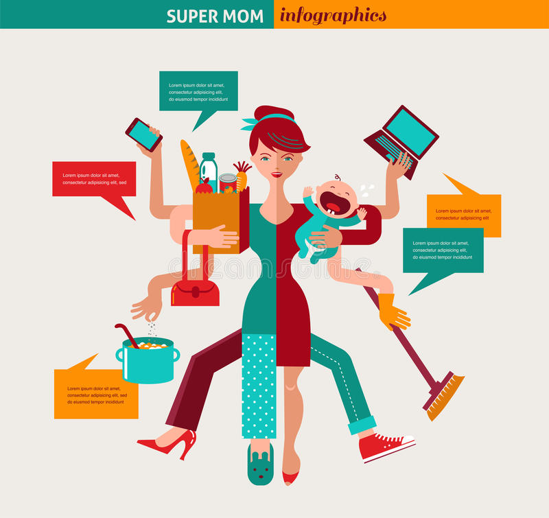 超级妈妈-多任务母亲的例证 向量例证