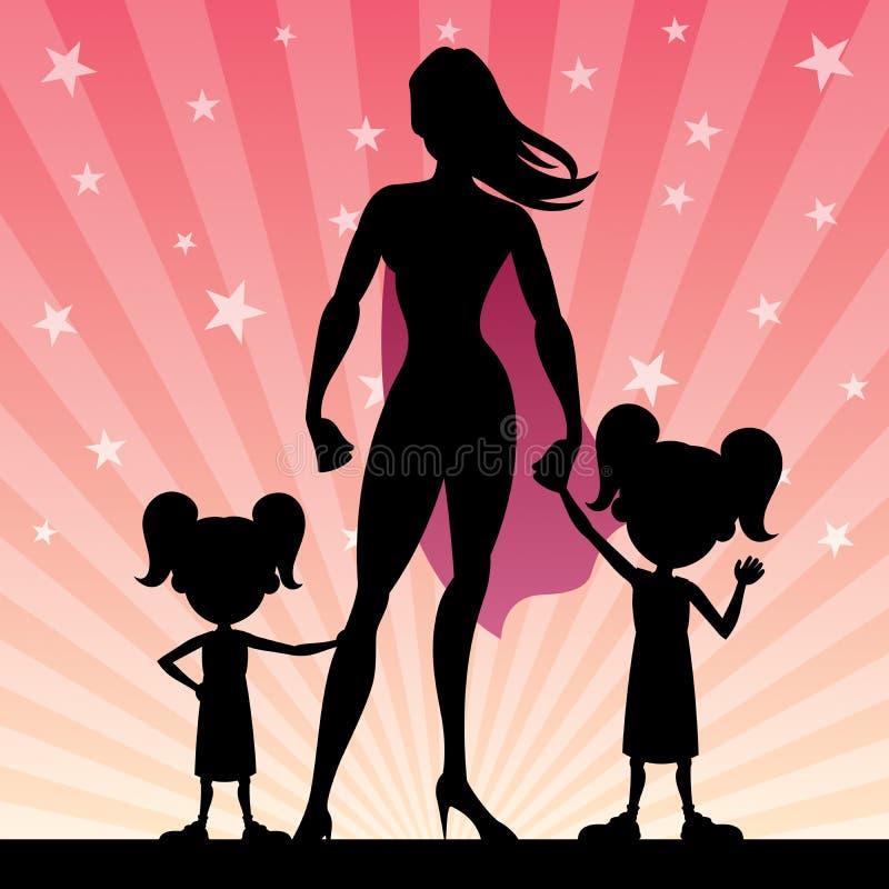 超级妈妈2女儿 向量例证