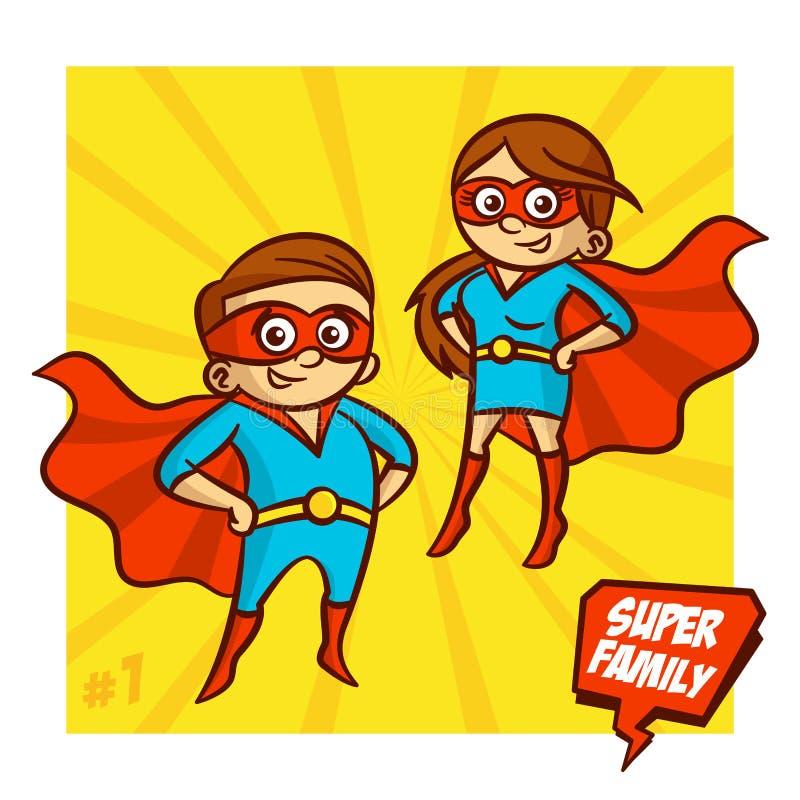 超级家庭 母亲和父亲超级英雄 向量Illustartion 皇族释放例证