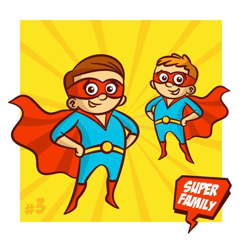 超级家庭 父亲和儿子超级英雄 向量Illustartion 皇族释放例证