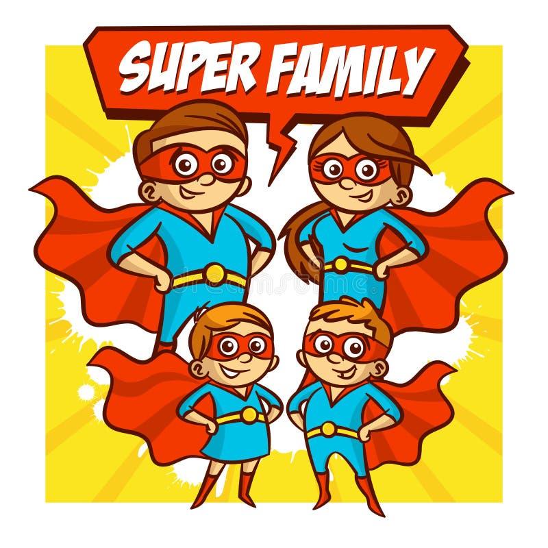 超级家庭 父亲母亲女儿儿子超级英雄 集合 皇族释放例证