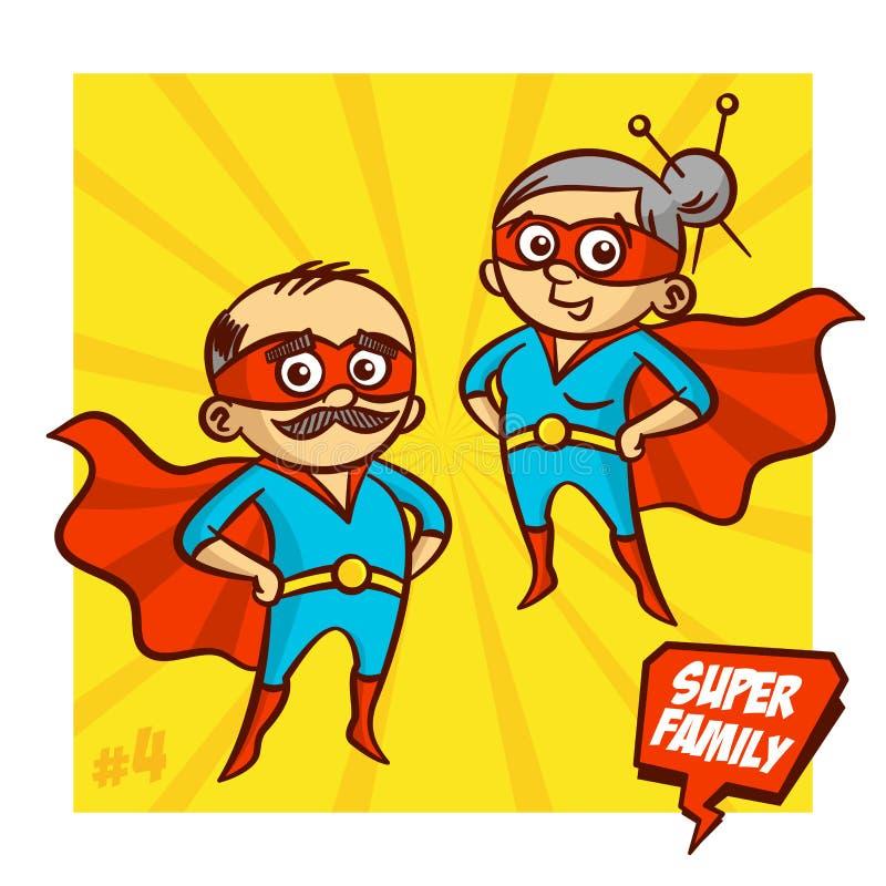 超级家庭 祖父和祖母超级英雄 向量Illustartion 皇族释放例证