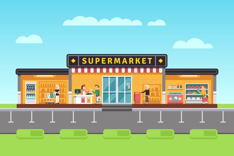 超级市场、商店、大型超级市场大厦与购物人和卖主助理导航例证 库存例证