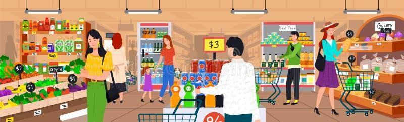 超级市场人,购物的菜商店 向量例证